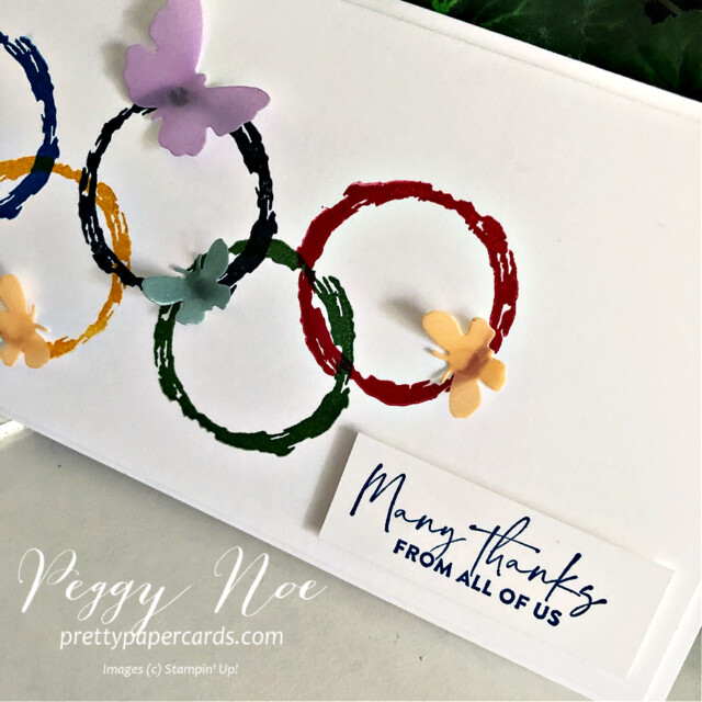 Handmade Olympic Rings card using the Textures & Frames Sale-a-Bration Stamp Set by Stampin' Up! created by Peggy Noe at Pretty Paper Cards #textures$frames #olympiccard #saleabration #textures&framesstampset #stampinup #stampingup #peggynoe #prettypapercards #olympicrings #manythanks