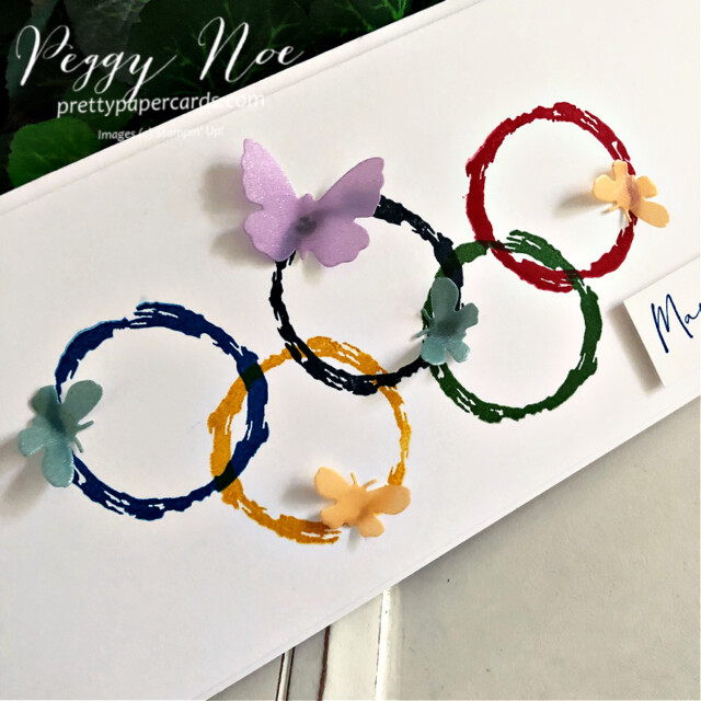 Handmade Olympic Rings card using the Textures & Frames Sale-a-Bration Stamp Set by Stampin' Up! created by Peggy Noe at Pretty Paper Cards #textures$frames #olympiccard #saleabration #textures&framesstampset #stampinup #stampingup #peggynoe #prettypapercards #olympicrings