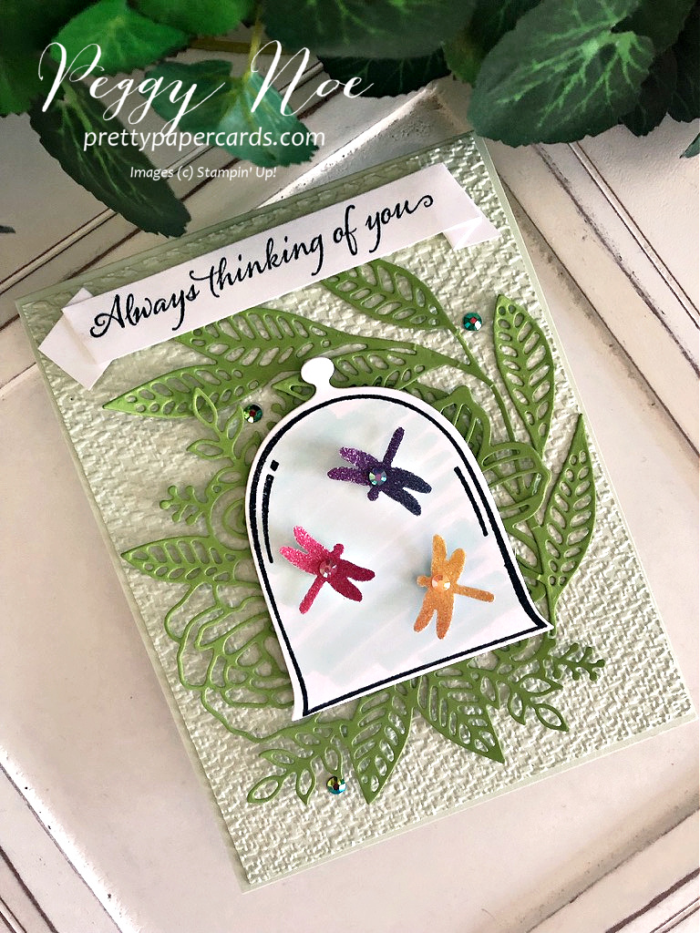 Handmade thinking of you card using the Very Versailles stamp set by Stampin' Up! created by Peggy Noe of Pretty Paper Cardw #veryversailles #veryversaillesstampset #peggynoe #prettypapercards #prettypapercards.com #stampinup #stampingup #clochedies #artisticdies #thinkingofyou #thinkingofyoucard #dragonflies #dragonflypunch
