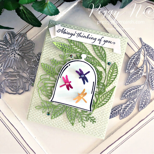 Handmade thinking of you card using the Very Versailles stamp set by Stampin' Up! created by Peggy Noe of Pretty Paper Cardw #veryversailles #veryversaillesstampset #peggynoe #prettypapercards #prettypapercards.com #stampinup #stampingup #clochedies #artisticdies #thinkingofyou #thinkingofyoucard #dragonflies #dragonflypunch #dragonfliesincloche
