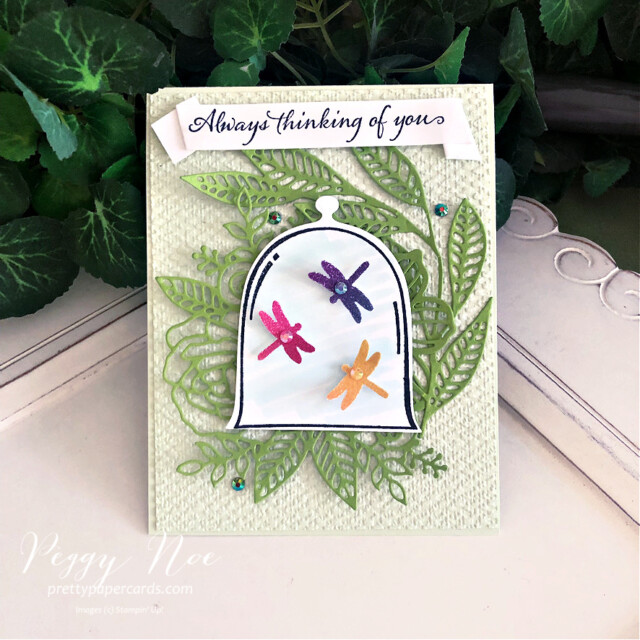 Handmade thinking of you card using the Very Versailles stamp set by Stampin' Up! created by Peggy Noe of Pretty Paper Cardw #veryversailles #veryversaillesstampset #peggynoe #prettypapercards #prettypapercards.com #stampinup #stampingup #clochedies #artisticdies #thinkingofyou #thinkingofyoucard