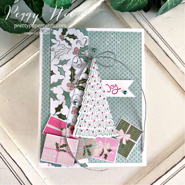 Handmade Holiday card made with the Whimsy & Wonder Suite from Stampin' Up! created by Peggy Noe of Pretty Paper Cards #peggynoe #prettypapercards #prettypapercards.com #stampinup #stampingup #whimsy&wonder #whimsy&wondersuite #whimsy&wonder #whimsicaltreesbundle #holidaycard #christmascard #christmastrees #whimsicaltrees