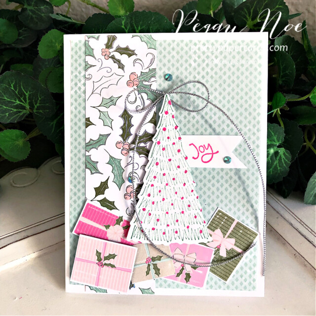 Handmade Holiday card made with the Whimsy & Wonder Suite from Stampin' Up! created by Peggy Noe of Pretty Paper Cards #peggynoe #prettypapercards #prettypapercards.com #stampinup #stampingup #whimsy&wonder #whimsy&wondersuite #whimsy&wonder #whimsicaltreesbundle #holidaycard #christmascard #christmastree #christmastrees #joycard
