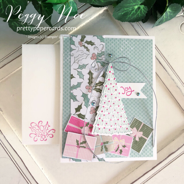 Handmade Holiday card made with the Whimsy & Wonder Suite from Stampin' Up! created by Peggy Noe of Pretty Paper Cards #peggynoe #prettypapercards #prettypapercards.com #stampinup #stampingup #whimsy&wonder #whimsy&wondersuite #whimsy&wonder #whimsicaltreesbundle #holidaycard #christmascard #christmastree
