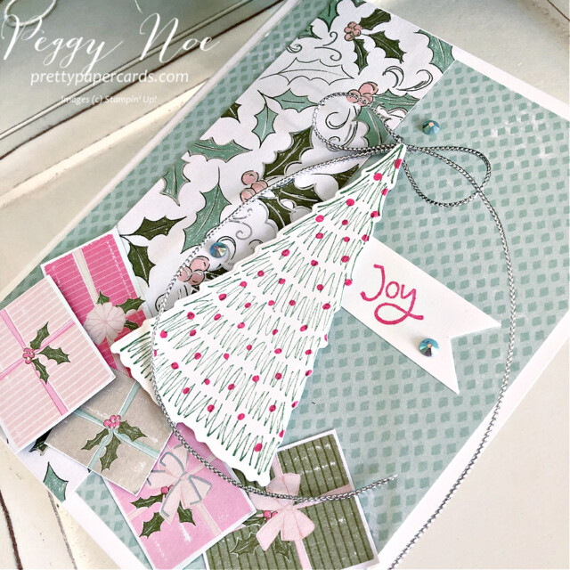 Handmade Holiday card made with the Whimsy & Wonder Suite from Stampin' Up! created by Peggy Noe of Pretty Paper Cards #peggynoe #prettypapercards #prettypapercards.com #stampinup #stampingup #whimsy&wonder #whimsy&wondersuite #whimsy&wonder #whimsicaltreesbundle #holidaycard #christmascard #christmastrees