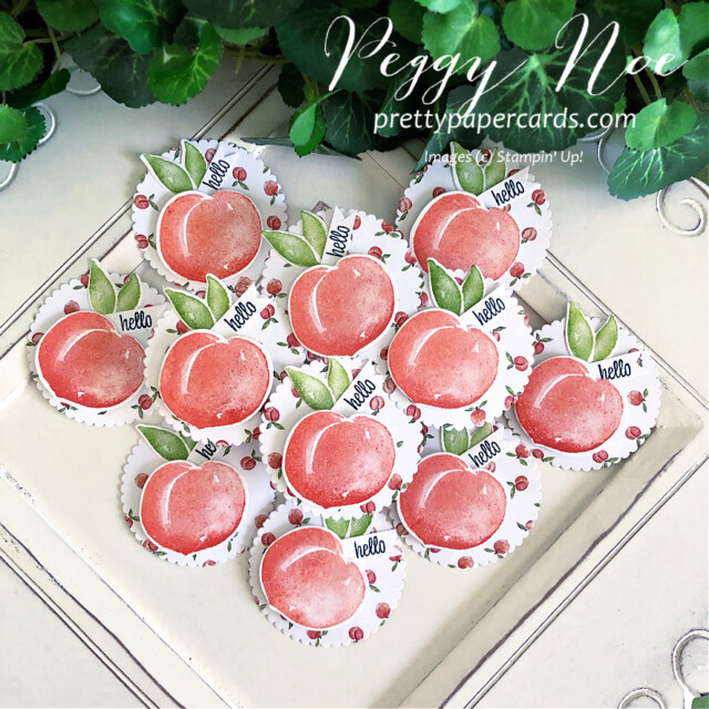 Handmade Circle Tags featuring the Sweet as a Peach Bundle by Stampin' Up! created by Peggy Noe of Pretty Paper Cards #handmadetag #circletag #circleornament #layeringcircledies #sweetasapeachbundle #sweetasapeach #you'reapeachdesignerseriespaper #you'reapeachdsp #stampinup #stampingup #peggynoe #prettypapercards #peachtags #peaches
