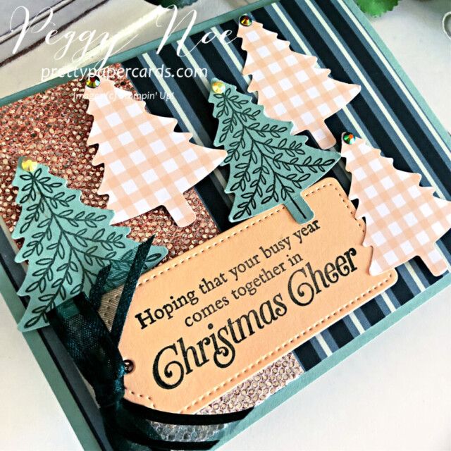 Handmade Christmas Card using the Be Dazzling Paper and the Perfectly Plaid stamp set by Stampin' Up! created by Peggy Noe #peggynoe #perfectlyplaid #pinetreepunch #christmascard #holidaycard #christmascard #holidaycard #paperchristmastree #bedazzlingpaper #tailormadetagdies