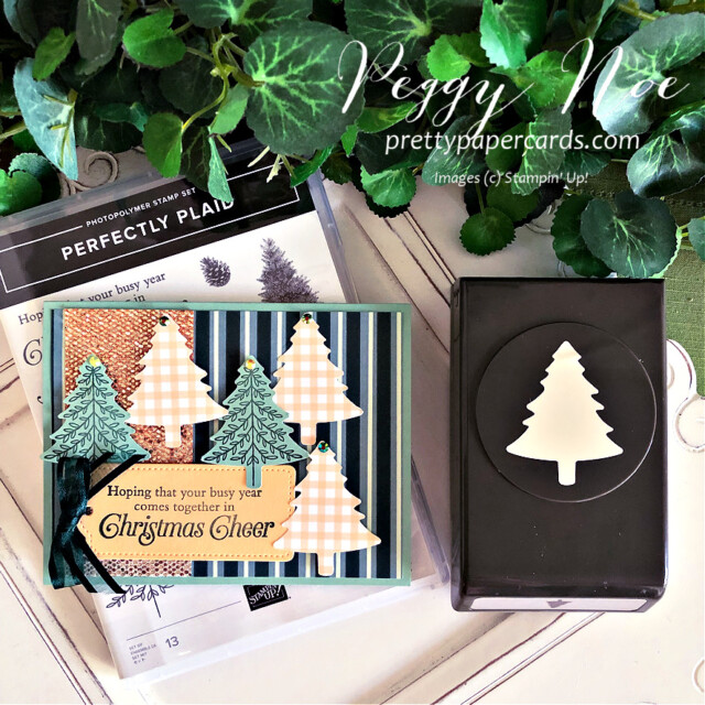 Handmade Christmas Card using the Be Dazzling Paper and the Perfectly Plaid stamp set by Stampin' Up! created by Peggy Noe #peggynoe #perfectlyplaid #pinetreepunch #christmascard #holidaycard #christmascard #holidaycard #paperchristmastree #bedazzlingpaper #tailormadetagdies #palepapaya
