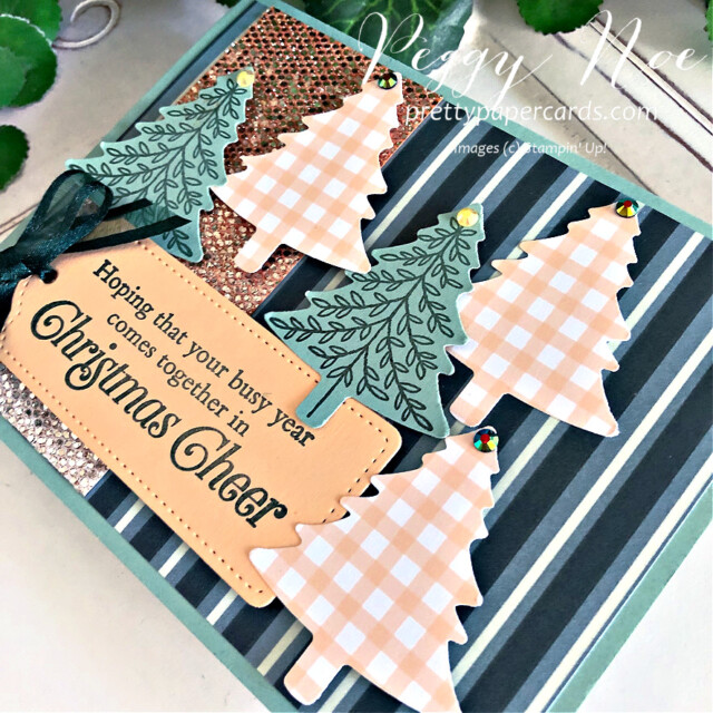 Handmade Christmas Card using the Be Dazzling Paper and the Perfectly Plaid stamp set by Stampin' Up! created by Peggy Noe #peggynoe #perfectlyplaid #pinetreepunch #christmascard #holidaycard #christmascard #holidaycard #paperchristmastree #bedazzlingpaper #tailormadetagdies #palepapaya #christmastreecard #sparklycard