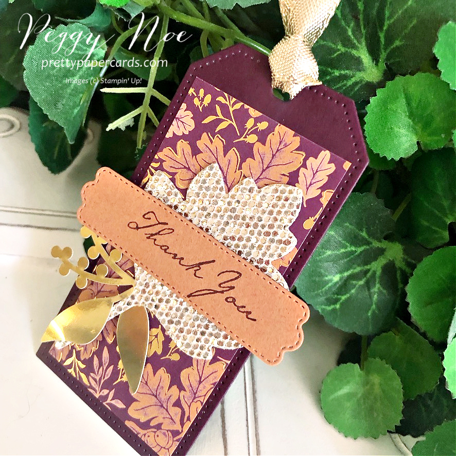 Blackberry Beauty Fall Tag Stampin' Up! Pretty Paper Cards #blackberrybeautydsp #tailormadetags #tags #thankyoutags #stitchedleavesdies #expressionsininkephemerapack #prettypillowboxdies #nature'sharvest #nature'sharveststampset