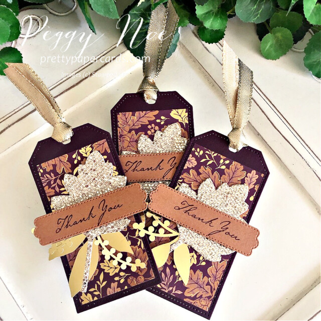 Blackberry Beauty Fall Tag Stampin' Up! Pretty Paper Cards #blackberrybeautydsp #tailormadetags #tags #thankyoutags #stitchedleavesdies #expressionsininkephemerapack #prettypillowboxdies #nature'sharvest #nature'sharveststampset #blackberryblisscardstock