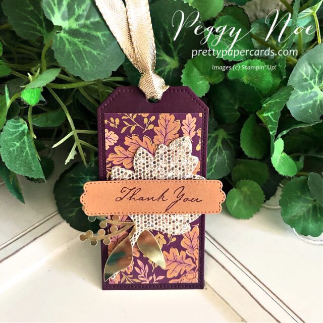 Blackberry Beauty Fall Tag Stampin' Up! Pretty Paper Cards #blackberrybeautydsp #tailormadetags #tags #thankyoutags #stitchedleavesdies #expressionsininkephemerapack #prettypillowboxdies #nature'sharvest #nature'sharveststamset #goldfoilleaves #ephemera