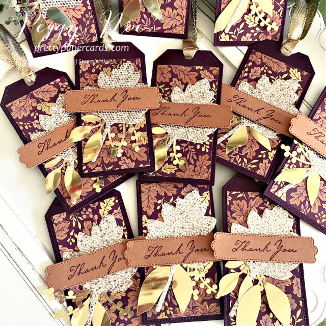 Blackberry Beauty Fall Tag Stampin' Up! Pretty Paper Cards #blackberrybeautydsp #tailormadetags #tags #thankyoutags #stitchedleavesdies #expressionsininkephemerapack #prettypillowboxdies #nature'sharvest #nature'sharveststamset #goldfoilleaves #ephemerapack