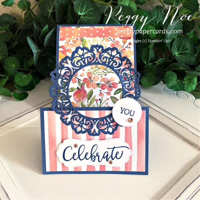 Handmade Celebrate Card made with the Create With Friends Stamp Set by Stampin' Up! created by Peggy Noe of prettypapercards.com #createwithfriends #createwithfriendsstampset #stampinup #stampingup #peggynoe #prettypapercards.com #you'reapeach #you'reapeachpaper #you'reapeachdesignerseriespaper #encircledinbeautydies