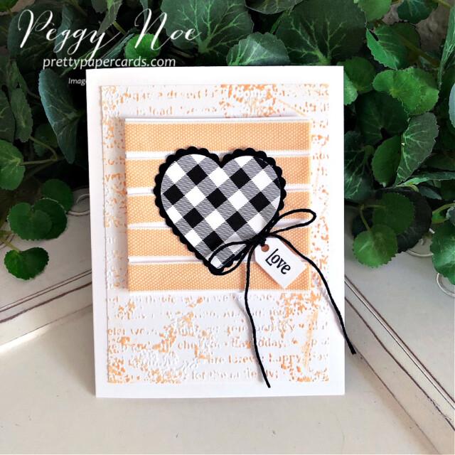 Handmade Love Card made with the Stampin' Up! Heart Punch Pack created by Peggy Noe of Pretty Paper Cards #GDP304 #heartpunchpack #quietmeadowbundle #peggynoe #prettypapercards #prettypapercards.com #stampinup #stampingup #palepapayaribbon #palepapaya #timeworntype #timeworntypeembossingfolder #lovecard
