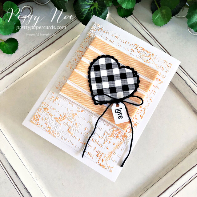 Handmade Love Card made with the Stampin' Up! Heart Punch Pack created by Peggy Noe of Pretty Paper Cards #GDP304 #heartpunchpack #quietmeadowbundle #peggynoe #prettypapercards #prettypapercards.com #stampinup #stampingup #palepapayaribbon #palepapaya #timeworntype #lovecard #checkeredheart