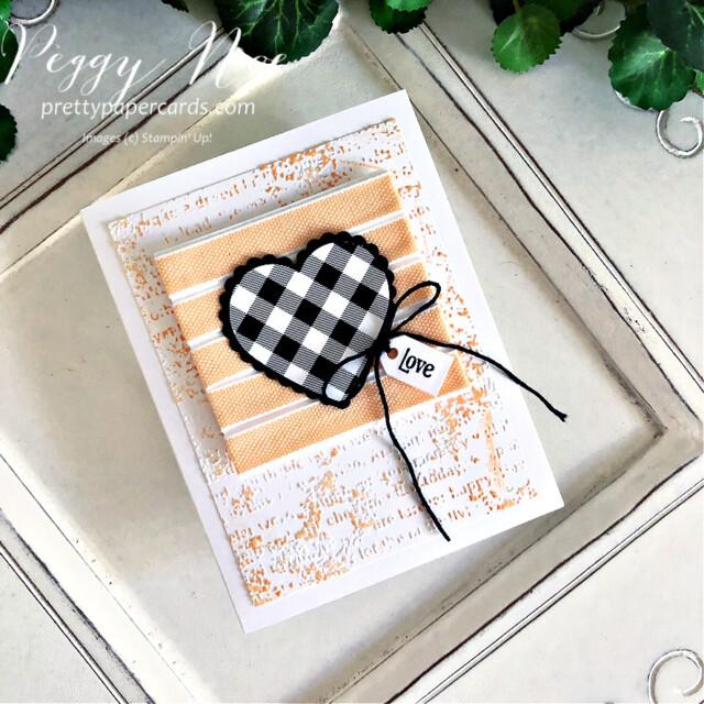Handmade Love Card made with the Stampin' Up! Heart Punch Pack created by Peggy Noe of  Pretty Paper Cards #GDP304 #heartpunchpack #quietmeadowbundle #peggynoe #prettypapercards #prettypapercards.com #stampinup #stampingup #palepapayaribbon #palepapaya #timeworntype #timeworntypeembossingfolder