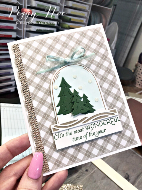 Christmas card made with the Classic Cloche Bundle by Stampin' Up! designed by Peggy Noe of Pretty Paper Cards #classiccloche #clochebundle #stampinup #stampingup #peggynoe #prettypapercards #prettypapercards.com #christmascard #holidaycard #holidayscene #winterscene