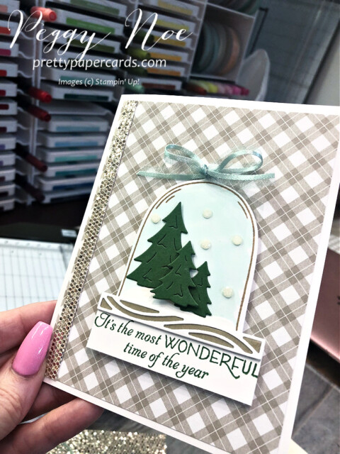 Christmas card made with the Classic Cloche Bundle by Stampin' Up! designed by Peggy Noe of Pretty Paper Cards #classiccloche #clochebundle #stampinup #stampingup #peggynoe #prettypapercards #prettypapercards.com #christmascard #holidaycard #holidayscene #winterscene #wintertrees