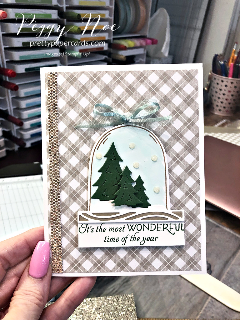 Christmas card made with the Classic Cloche Bundle by Stampin' Up! designed by Peggy Noe of Pretty Paper Cards #classiccloche #clochebundle #stampinup #stampingup #peggynoe #prettypapercards #prettypapercards.com #christmascard #holidaycard