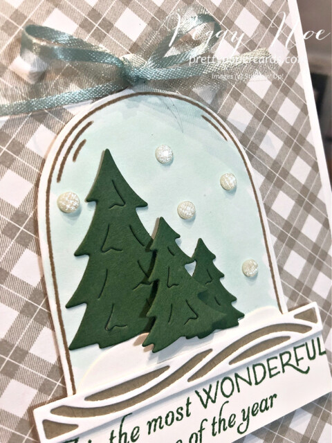 Christmas card made with the Classic Cloche Bundle by Stampin' Up! designed by Peggy Noe of Pretty Paper Cards #classiccloche #clochebundle #stampinup #stampingup #peggynoe #prettypapercards #prettypapercards.com #christmascard #holidaycard #holidayscene