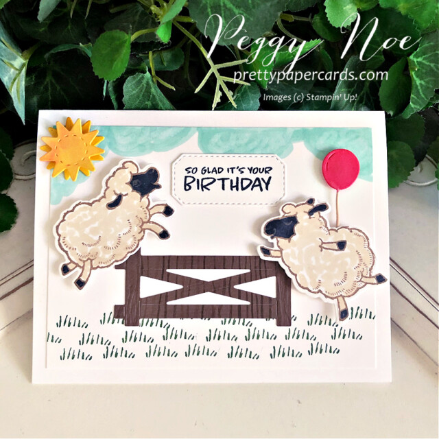 Counting Sheep Birthday Card Stampin' Up! Peggy Noe #countingsheep #sheepdies #birthdaycard #sheepbirthdaycard #peggynoe #prettypapercards #stampinup #stampingup