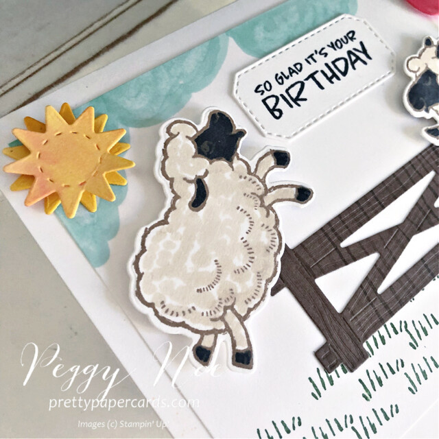 Handmade Birthday Card using the Stampin' Up! Counting Sheep Stamp Set and Sheep Dies by Peggy Noe of prettypapercards.com #countingsheep #sheepdies #birthdaycard #sheepbirthdaycard #peggynoe #prettypapercards #stampinup #stampingup #happysheep