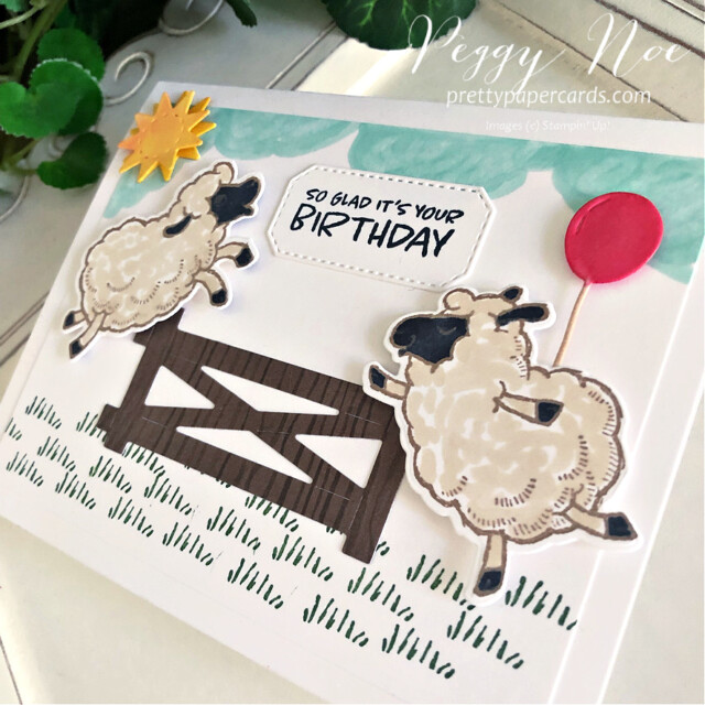 Handmade Birthday Card using the Stampin' Up! Counting Sheep Stamp Set and Sheep Dies by Peggy Noe of prettypapercards.com #countingsheep #sheepdies #birthdaycard #sheepbirthdaycard #peggynoe #prettypapercards #stampinup #stampingup #happysheep #sheepbirthday #saleabration