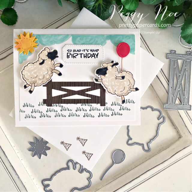 Handmade Birthday Card using the Stampin' Up! Counting Sheep Stamp Set and Sheep Dies by Peggy Noe of prettypapercards.com #countingsheep #sheepdies #birthdaycard #sheepbirthdaycard #peggynoe #prettypapercards #stampinup #stampingup #happysheep #sheepbirthday