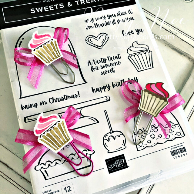 Handmade paperclip/bookmark made with the Sweets & Treats Stamp Set from Stampin' Up! created by Peggy Noe of Pretty Paper Cards #sweets&treats #cupcakebookmard #cupcakepaperclip #tinycupcake #funpaperclip