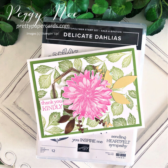 Handmade Thank You Card made with the Delicate Dahlia stamp set by Stampin' Up! created by Peggy Noe of Pretty Paper Cards #delicatedahlias #delicatedahliasstampset #stampinup #stampingup #peggynoe #prettypapercards #thankyou #thankyoucard #flowercard #floralcard