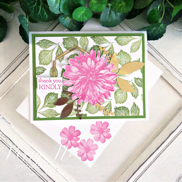Handmade Thank You Card made with the Delicate Dahlia stamp set by  Stampin' Up! created by Peggy Noe of Pretty Paper Cards #delicatedahlias #delic#atedahliasstampset #stampinup #stampingup #peggynoe #prettypapercards #thankyou #thankyoucard #flowercard #floralcard #expressionsininkephemerapack