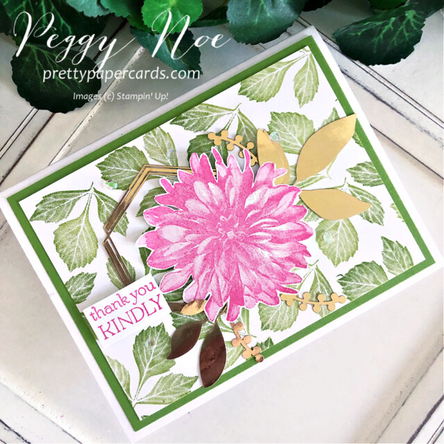 Handmade Thank You Card made with the Delicate Dahlia stamp set by  Stampin' Up! created by Peggy Noe of Pretty Paper Cards #delicatedahlias #delic#atedahliasstampset #stampinup #stampingup #peggynoe #prettypapercards #thankyou #thankyoucard #flowercard #floralcard #expressionsininkephemerapack #polishedpink