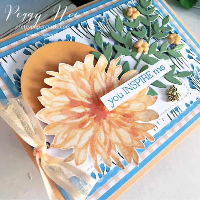 Handmade card using the Delicate Dahlias stamp set by Stampin' Up! created by Peggy Noe of Pretty Paper Cards #peggynoe #prettypapercards #stampinup #stampingup #delicatedahlias #delicatedahliasstampset #gdp305