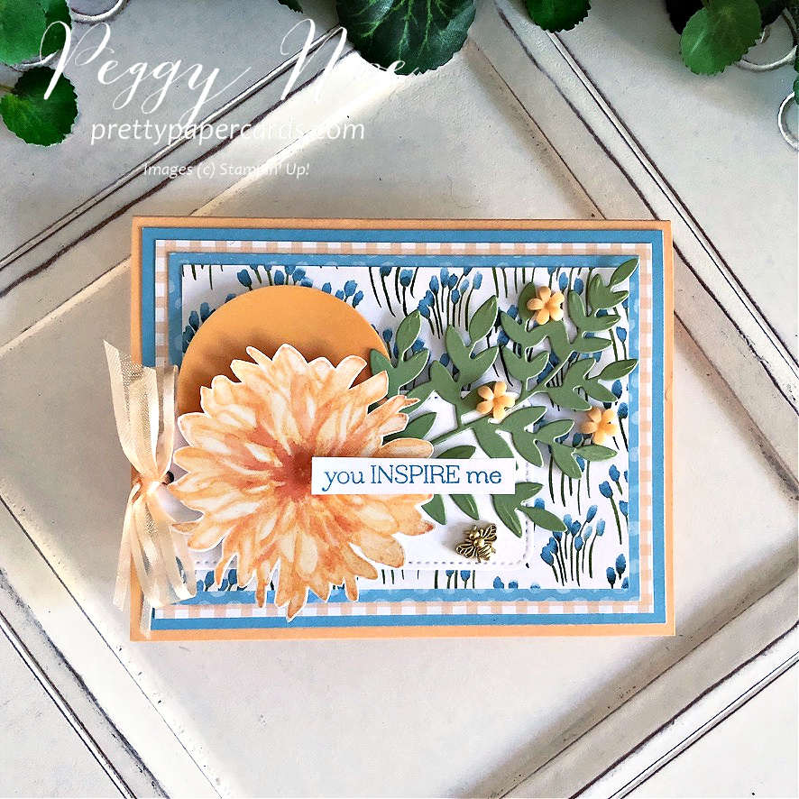 Handmade card using the Delicate Dahlias stamp set by Stampin' Up! created by Peggy Noe of Pretty Paper Cards #peggynoe #prettypapercards #stampinup #stampingup #delicatedahlias #delicatedahliasstampset