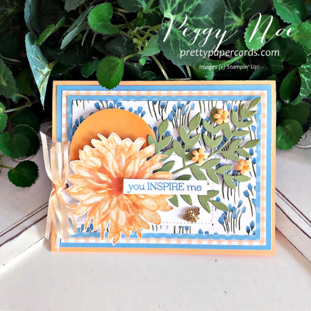 Handmade card using the Delicate Dahlias stamp set by Stampin' Up! created by Peggy Noe of Pretty Paper Cards #peggynoe #prettypapercards #stampinup #stampingup #delicatedahlias #delicatedahliasstampset #gdp305 #youinspireme