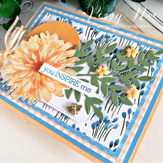 Handmade card using the Delicate Dahlias stamp set by Stampin' Up! created by Peggy Noe of Pretty Paper Cards #peggynoe #prettypapercards #stampinup #stampingup #delicatedahlias #delicatedahliasstampset #gdp305 #youinspireme #foreverflourishing