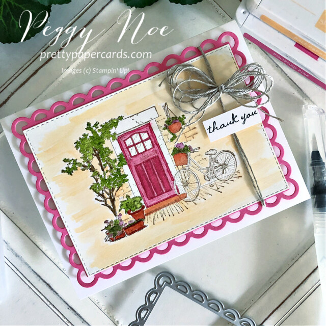 Handmade thank you card using the Feels Like Home Stamp Set by Stampin' Up! created by Peggy Noe of Pretty Paper Cards #feelslikehome #feelslikehomestampset #thankyou #thanlyoucard #stampinup #stampingup #peggynoe #prettypapercards