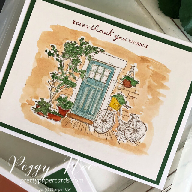 Handmade thank you card using the Feels Like Home Stamp Set by Stampin' Up! created by Peggy Noe of Pretty Paper Cards #feelslikehome #feelslikehomestampset #thankyou #thanlyoucard #stampinup #stampingup #peggynoe #prettypapercards #waterpainter