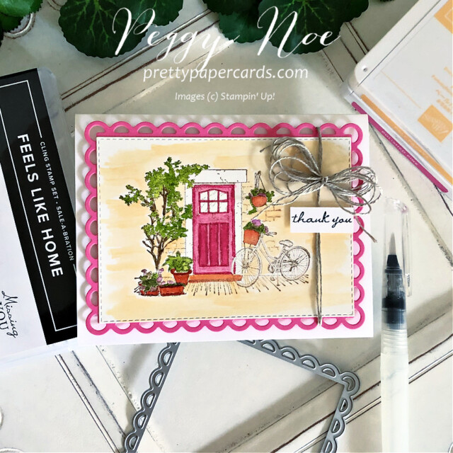Handmade thank you card using the Feels Like Home Stamp Set by Stampin' Up! created by Peggy Noe of Pretty Paper Cards #feelslikehome #feelslikehomestampset #thankyou #thanlyoucard #stampinup #stampingup #peggynoe #prettypapercards #polishedpink