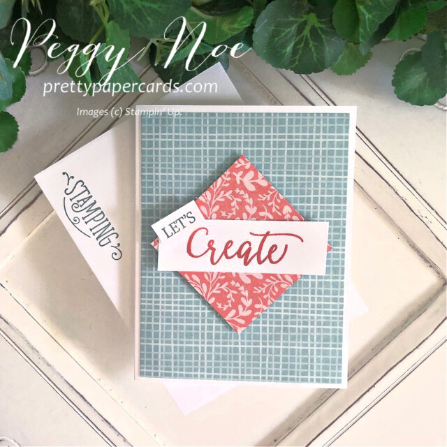 Handmade card using the Create With Friends stamp set by Stampin' Up! created by Peggy Noe of Pretty Paper Cards #let'screatecard #createwithfriends #stampin'up #stampinup #stampingup #peggynoe #prettypapercards #let'screatecard #sweetstockingsdsp #celebratecard