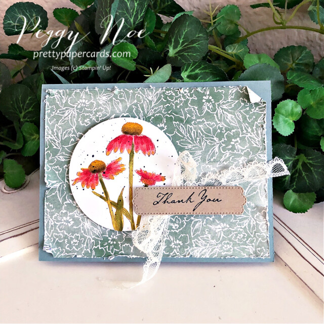 Handmade Fall Card made with the Nature's Harvest stamp set by Stampin' Up! created by Peggy Noe of Pretty Paper Cards #coneflower #coneflowercard #nature'sHarvest #nature'sharveststampset #fallcard #stampinup #stampingup #peggynoe #prettypapercards #coneflower #coneflowers #fallcard