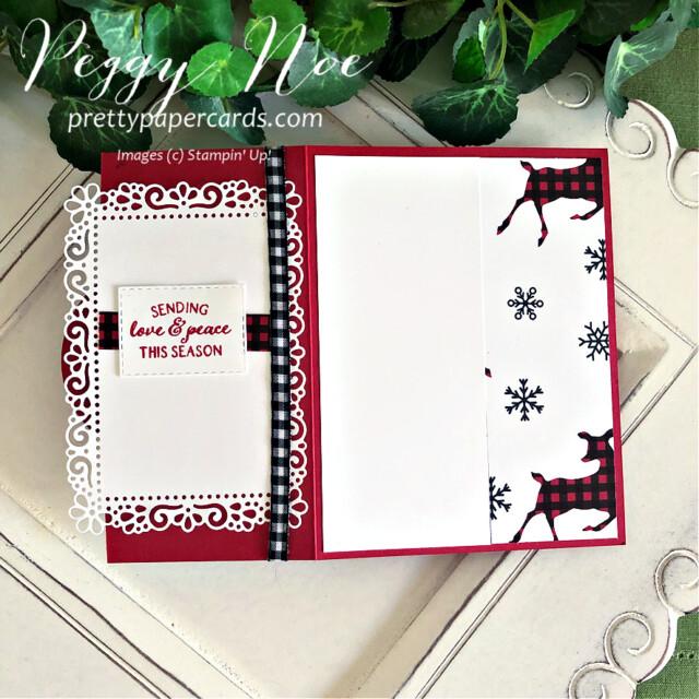 Peaceful Deer Stampin' Up! Peggy Noe #christmascard #reindeercard #peacefuldeer #peacefuldeerbundle #peacefulprints #peacefulprintsdsp #peacefulprintspaper #reindeercard #ornateframes