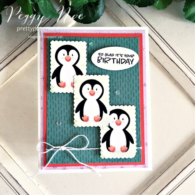 Handmade birthday card made with the Penguin Playmates paper from Stampin' Up! made by Peggy Noe of Pretty Paper Cards #penguinplaymates #penguinplaymatespaper #penguincard #stampinup #stampingup #peggynoe #prettypapercards #saleabration #postagestamppunch #rectangularpostagestamppunch