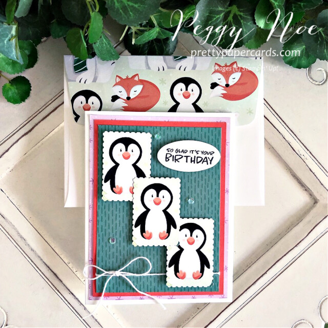 Handmade birthday card made with the Penguin Playmates paper from Stampin' Up! made by Peggy Noe of Pretty Paper Cards #penguinplaymates #penguinplaymatespaper #penguincard #stampinup #stampingup #peggynoe #prettypapercards #saleabration #postagestamppunch #rectangularpostagestamppunch #punchedpenguins #birthdaycard
