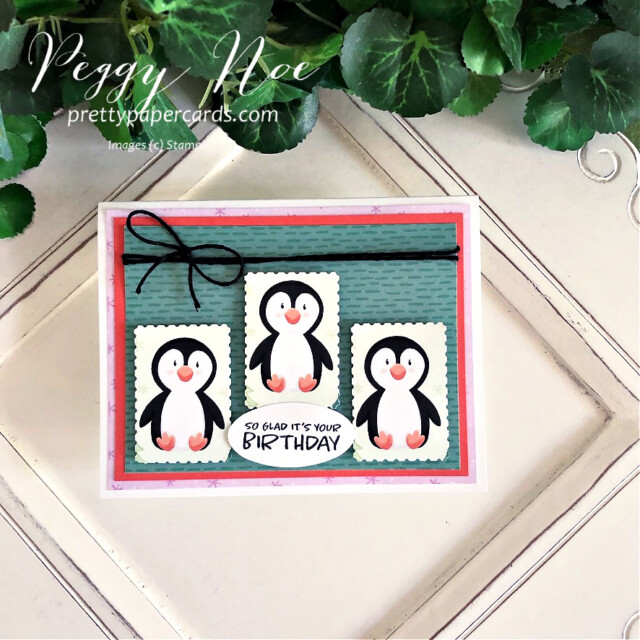 Handmade birthday card made with the Penguin Playmates paper from Stampin' Up! made by Peggy Noe of Pretty Paper Cards #penguinplaymates #penguinplaymatespaper #penguincard #stampinup #stampingup #peggynoe #prettypapercards #saleabration #postagestamppunch #rectangularpostagestamppunch #punchedpenguins