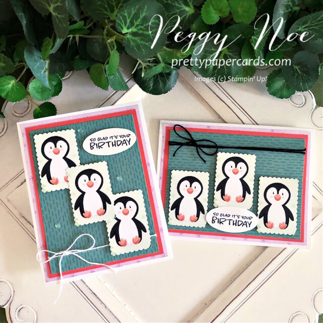 Handmade birthday card made with the Penguin Playmates paper from Stampin' Up! made by Peggy Noe of Pretty Paper Cards #penguinplaymates #penguinplaymatespaper #penguincard #stampinup #stampingup #peggynoe #prettypapercards #saleabration #postagestamppunch #rectangularpostagestamppunch #penguins