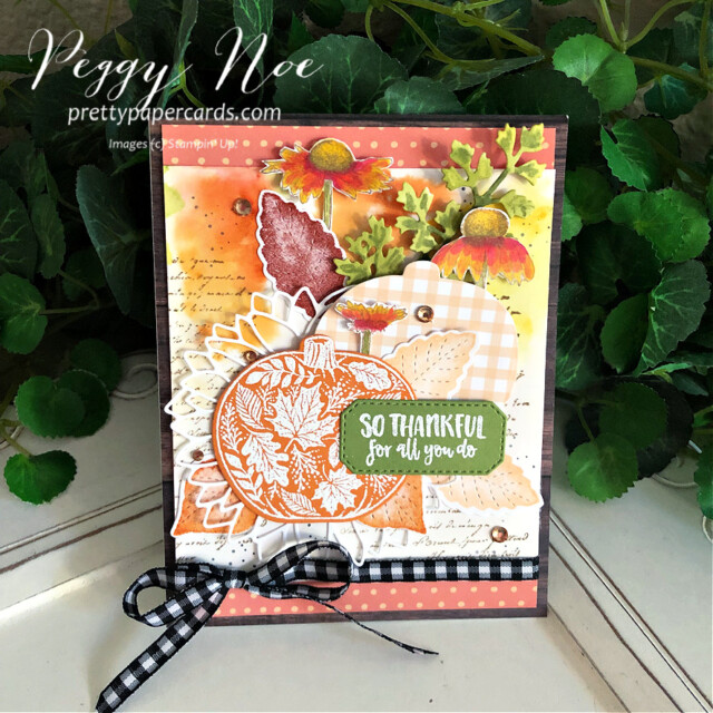 Handmade Fall Card made with the Pretty Pumpkins Bundle by Stampin' Up! created by Peggy Noe of Pretty Paper Cards #prettypumpkin #prettypumpkinbundle #prettypumpkinstampset #stampinup #stampingup #peggynoe #prettypapercards #fallcard #pumpkincard #veryversailles #pumpkins