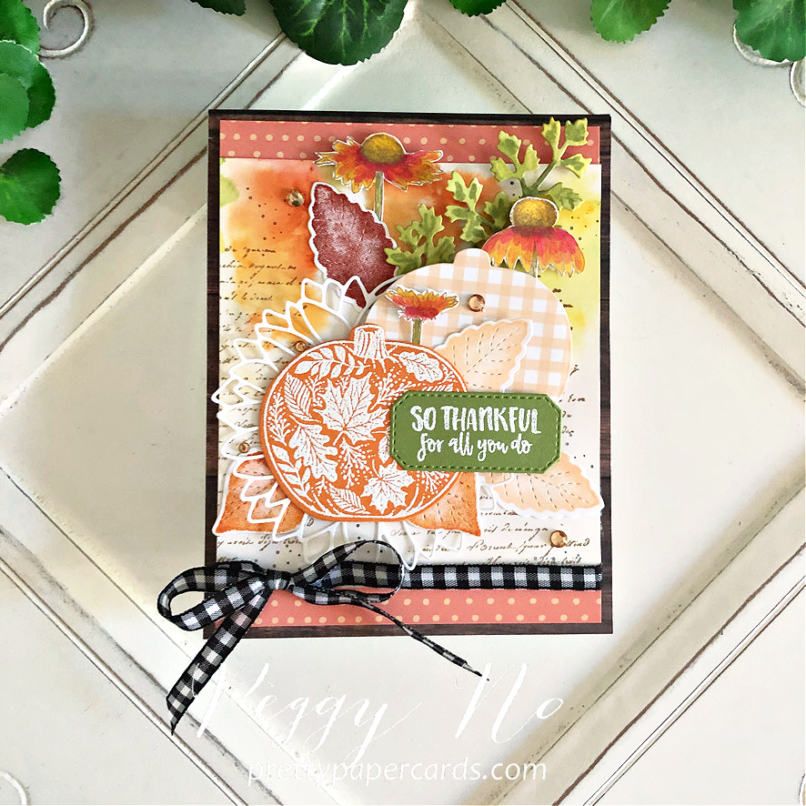 Handmade Fall Card made with the Pretty Pumpkins Bundle by Stampin' Up! created by Peggy Noe of Pretty Paper Cards #prettypumpkin #prettypumpkinbundle #prettypumpkinstampset #stampinup #stampingup #peggynoe #prettypapercards #fallcard #pumpkincard