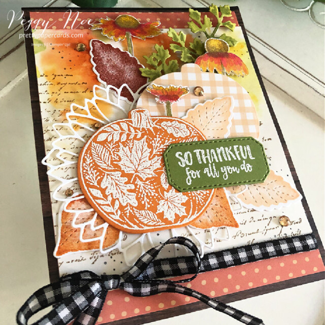 Handmade Fall Card made with the Pretty Pumpkins Bundle by Stampin' Up! created by Peggy Noe of Pretty Paper Cards #prettypumpkin #prettypumpkinbundle #prettypumpkinstampset #stampinup #stampingup #peggynoe #prettypapercards #fallcard #pumpkincard #veryversailles